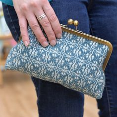 Handwoven purse, Teal clutch purse, Handwoven bag overshot