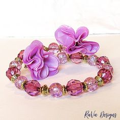 bracelet of the day handmade memory wire jewelry purple pink beads floral accent gold spacers Memory Wire Jewelry, Wooden Jewelry, Diy Bracelet Storage, Jewelry Rack, Something Beautiful, Handmade Wooden, Bracelet Making, Purple, Pink
