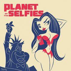 By Koldo Barroso. #illustration #art #retrostyle #cartoons #hannabarbera #planetoftheapes #sexy #selfie