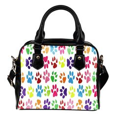 Dog Paw White Shoulder Bag