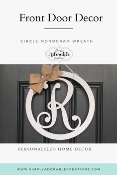 Greet your guest with the beautiful personalized sign. Can be customized to your decor. Front Door Monogram, Monogram Signs, Monogram Wreath, Circle Monogram, Front Door Decor, Monogram Letters, Front Porch, Letter Door Hangers, Initial Door Hanger