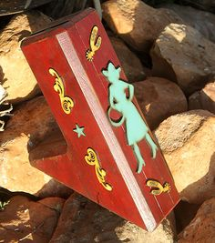 COWGIRL Vintage Chippy Red Turquoise Wheat Wood Knife Block Knives-Cutlery Holder-Distressed Stars-Kitchen-Western Lodge Ranch Ornate Spurs on Etsy, $38.00