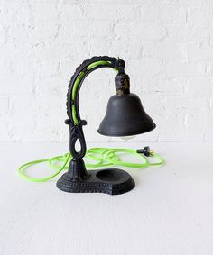 Vintage Cast Iron Lamp w/ Interwoven Neon Yellow Green Color Cord