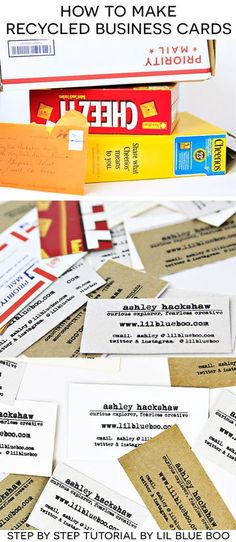 How to make recycled business cards using a stamp via Ashley Hackshaw / Lil Blue Boo #businesscards #recycled #diy