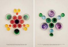Nice layouts for Apartamento Magazine by Nacho Alegre, using glasses of colored water to create some clever little mandalas.
