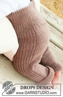Drops Baby - Knitted Pants In With Rib For Baby And Children In Drops Merino Extra Fine - Free Pattern By Drops Design - Diy Crafts - moonfer Baby Knitting Patterns, Knitting For Kids, Baby Patterns, Free Knitting, Crochet Patterns, Sweater Patterns, Baby Pants Pattern, Crochet Baby Pants, Knit Crochet