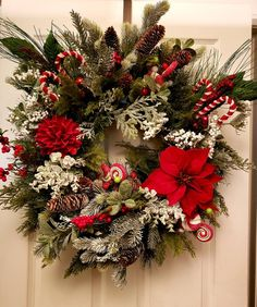 """All of my Christmas / Holiday wreaths are hand-made and designed with the highest quality product.  24"""" oval artificial pine wreath (w/o decorations).  Ornaments are secured with zip ties, floral wire and /or hot glue. If ribbons are used, these are wired based for easy Santa Decorations, Outdoor Christmas Decorations, Christmas Themes, Christmas Crafts, Holiday Decor, Real Christmas Tree, Christmas Swags, All Things Christmas, Christmas Holiday"""