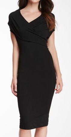 Draped shoulder pencil dress