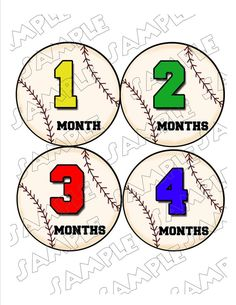 Monthly Onesie Stickers Baseballs