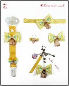 """Accessoires bébé et femme CORI PARIS, collection """"Tendres noeuds"""" jaunes. Attache tétine, bandeau bébé, barrettes fille, bijou de sac et bague avec de jolis noeuds jaunes."""