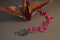 New to AthenasArmoury on Etsy: Big & Small Chain with Enameled Metal Lace Bracelet to Benefit Susan G. Komen - Pink Warrior Collection (22.00 USD)