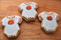 Decorated Sugar Cookies, Baby Boy Cookies, Basketball Cookies, Onsie Cookies