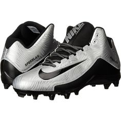 Nike Speedlax 5 (Metallic Silver/Black/Black) Men's Cleated Shoes ($40) ❤ liked on Polyvore featuring men's fashion, men's shoes, black, nike mens shoes, mens black shoes, mens lace up shoes, mens black lace up shoes and mens lightweight running shoes