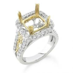 BF1660 - #26010  18 k, Two Tone diamond ring 1.10 ct. rounds (Please call for pricing)