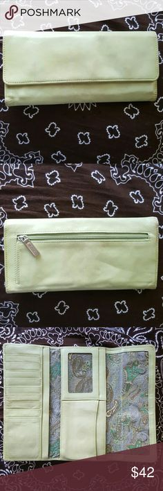 "Hobo International Leather ""Sadie"" Wallet Clutch Hobo International trifold continental leather wallet/clutch  Rare Muted Pistachio Color  8.5""w x 4""L  Has some minor wear and soiled spots on the outside but the inside is in Excellent condition! HOBO Bags Clutches & Wristlets"