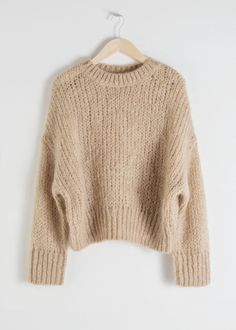 Wool Blend Chunky Knit Sweater - Camel - Sweaters - & Other Stories Hand Knitted Sweaters, Mohair Sweater, Beige Sweater, Wool Sweaters, Knitting Sweaters, Chunky Sweaters, Chunky Sweater Outfit, Striped Sweaters, Winter Sweaters