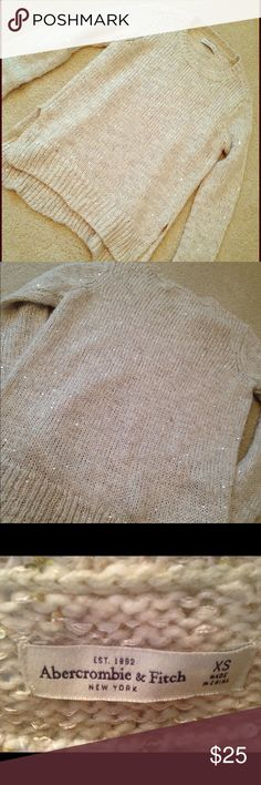 Scoop neck sequin cream sweater Warm, cozy and perfect for early winter. Beautiful cream color. Bought from Abercrombie & Fitch. Good condition, no rips or stains. Try pairing with a scarf & leggings or a short skirt. Abercrombie & Fitch Sweaters Crew & Scoop Necks