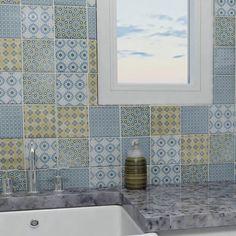 EliteTile Hedwig x Porcelain Mosaic Tile in Blue/Gold Ceramic Subway Tile, Ceramic Mosaic Tile, Stone Mosaic Tile, Glass Subway Tile, Mosaic Wall, Porcelain Tile, Wall And Floor Tiles, Wall Tiles, Wood Look Tile