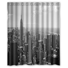 Made Of Waterproof Polyester Fabric With Stylish Designed Pictures. Do Not Bleach Or Tumble Dry. Fitted With C-shaped Curtain Hooks And Has Holes To Which Rings Attach. Soft And Comfortable Handing Feeling , Environmentally Friendly . Black White Shower Curtain, Shower Curtain Sets, Shower Curtains, New York Black And White, Black And White Wallpaper, Bleach, Fabric, Bath Tubs, Tela