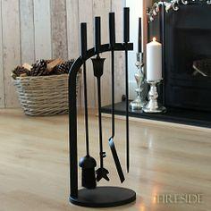 modern 4 tool fire set durable steel construction matt black finish exclusive design H - 620mm 24 comprises - stand shovel brush tongs poker fully