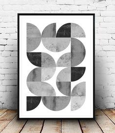 Imprimer minimaliste abstraction géométrique, publicité, scandinave Résumé impression, noir et blanc, aquarelle, affiche géométrique, mur d'art moderne