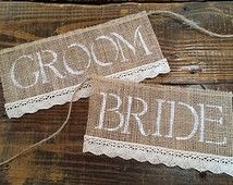 Rustic Bride and Groom Burlap and Lace Wedding Chair Signs, Rustic Wedding Decor, Bride and Groom Signs, Burlap Wedding, Photo Prop
