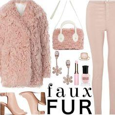 Pink Faux Fur Coat by deborah-calton on Polyvore featuring Miss Selfridge, LC Lauren Conrad, Clarins, Deborah Lippmann and fauxfur