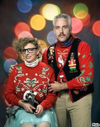 25 Ugly Christmas Sweaters You Wish You Had. -This NOT my style of fashion, but had to pin due to it's so classic for ugly christmas sweaters & the photo is hilarious, esp. the baby goat with the santa hat in her lap. Can't get any better than this. Ugliest Christmas Sweater Ever, Ugly Christmas Sweater, Tacky Christmas, Christmas Cards, Funny Christmas, Xmas Sweaters, Merry Christmas, Christmas Time, Christmas Jumpers