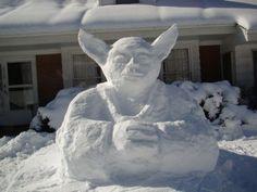Yoda Snow Sculptures