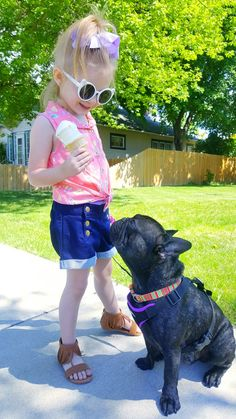 Besties🎀🍦🐕 #bestfriends #summertime #frenchbulldog #toddlerfashion #oshkosh #memories Bestfriends, Besties, Fashionista Kids, Garden Sculpture, Summertime, Memories, Outdoor Decor, Beat Friends, Memoirs