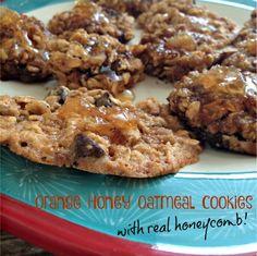 Orange Honey Oatmeal Cookies with Honeycomb