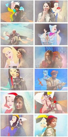 Once Upon A Time characters and their Disney versions. #ouat