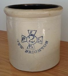 NEW BRIGHTON PA 2 GAL STONEWARE CROCK PITTSBURGH AREA POTTERY ENTERPRISE CROSS