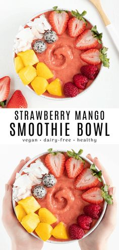 Strawberry Mango Smoothie Bowl This strawberry mango smoothie recipe is healthy, easy, and vegan! Enjoy a nutritious breakfast made with strawberries, mango, and almond milk. No yogurt is needed for this dairy-free smoothie bowl! Strawberry Mango Smoothie, Mango Smoothie Recipes, Easy Smoothies, Fruit Smoothies, Acai Bowl Recipe No Banana, Vegan Bowl Recipes, Frozen Fruit Smoothie, Dragon Fruit Smoothie, Vegan Recipes