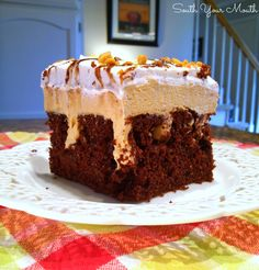 Chocolate Peanut Butter Pie Poke Cake used icing on black joe cake delicious!