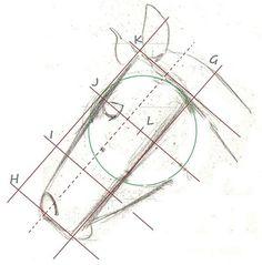 e profil, je trace une ligne à peu près à 45°, G et la coupe de quatre lignes à distances égales (H, I, J et K).  Je trace une ligne parallèle à G à une distance égale à K/J et j'obtiens la brique que l'on vient de voir pour le ....