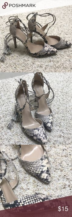 ✨SALE✨💕Charlotte Russe reptile print heels💕 Reptile print 4 inch heels. Lace long enough to wrap up calve, can be worn around the ankle. In great condition! Worn once! Charlotte Russe Shoes Heels