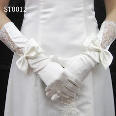 white elbow elastic satin with bowknot lace wedding bridal gloves