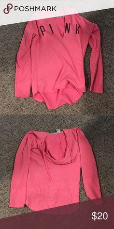 Victoria's Secret Pink Tunic Sweatshirt - Small Pink tunic sweatshirt with a hood from Victoria's Secret pink. Like new condition, barely worn. Size small PINK Victoria's Secret Tops Sweatshirts & Hoodies
