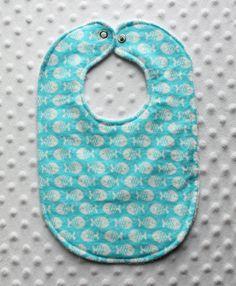 Aqua with White Fish Bib // Baby Bib by ChunkyLoveBoutique on Etsy, $8.00