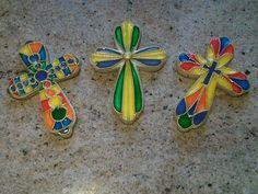 Stained Glass Crosses from Easter 2013 Easter Cookies, Fun Cookies, Cupcake Cookies, Christmas Snacks, Christmas Cookies, Cross Cookies, Stained Glass Cookies, Stain Glass Cross, Ginger Cookies
