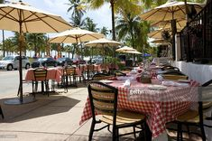 A shot of outdoor dining area in famous Art Deco area of Miami USA