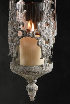 """These are super gorgeous and may make it to my birthday party this year. Need to think up lighting schemes. 18""""  Metal & Glass  Antiqued Hanging Candle Holder $13 each / 3 for $12 each"""