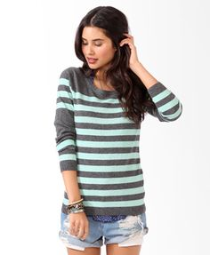 Striped Colorblocked Sweater/ Mint Green and Charcoal. $19.80 at forever21