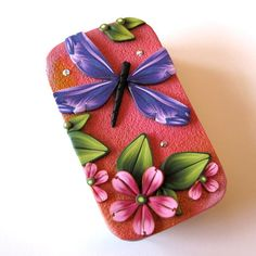 Purple Dragonfly Slide Top Tin Sewing Needle Case by Claybykim, $16.00