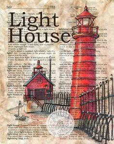 Grand Haven, MI Light House Mixed Media Drawing on Children's Dictionary Page - flying shoes art studio