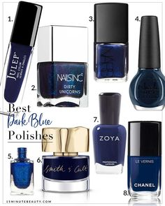 Not everyone likes dark blue nail polish, but I love it! It's edgy and different but not over the top. Add in a little sparkle or shimmer and I'm in love!