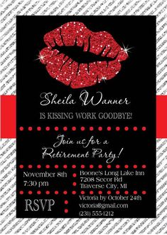 Retirement Invitation Kissing Work Goodbye by AnnounceItFavors Retirement Party Themes, Retirement Party Invitations, Printable Invitations, 50th Birthday, Thank You Cards, Lips, Kissing, Party Ideas, Frugal