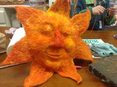 My sun!!  He's all needle felted with Merino wool