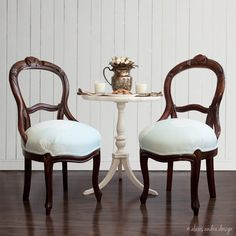 Antique Victorian Teal Upholstered Side Chairs - hand carved walnut romantic whimsical vintage balloon back light blue vanity desk chair